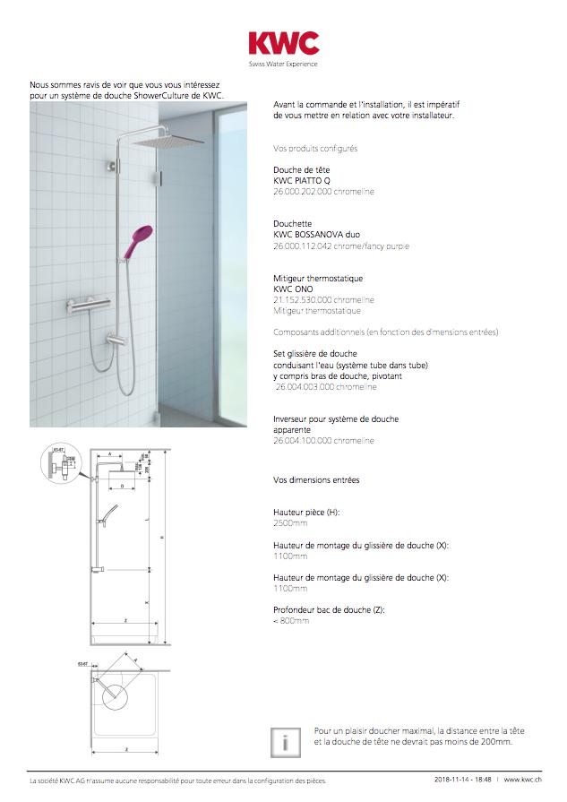 Configurer la douche